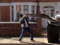 Mickey is attacked by a bin
