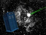 TARDIS about to be shot Time and the Rani