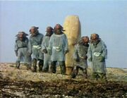 Sea Devils around diving bell