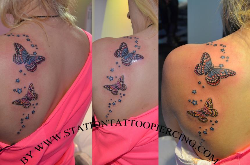 Tattoo Buterfly,stars,colour,female,shoulder,back