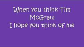 Tim McGraw - Taylor Swift with lyrics on screen! -)
