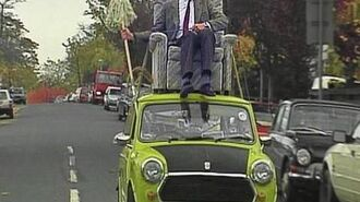Mr Bean Driving on roof of car
