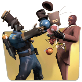 Pyro and Spy trading TF2