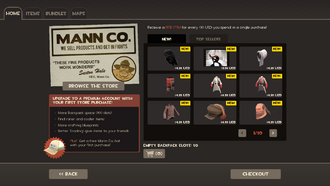 Mann Co. Store menu TF2