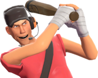 Scout doing the Home Run taunt TF2