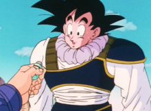 Future Trunks gives Goku medicine