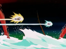 Goku chases after Freeza