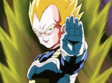 Vegeta about to destroy the incoming truck