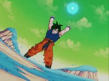 Goku charging the Spirit Bomb