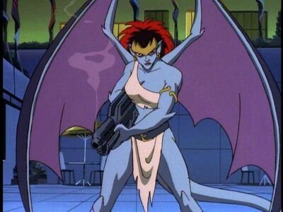 Demona with a particle beam cannon