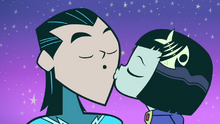 Raven kisses Aqualad