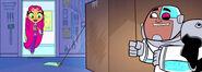 Cyborg Chuckles Behind Box