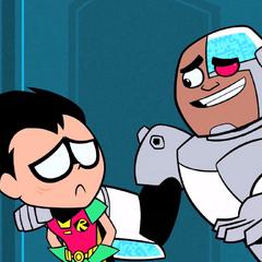 cyborg comforts robin