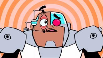 Cyborg staring contest eye open