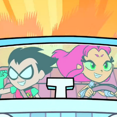 Starfire drives Robin around town.