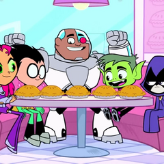 The Teen Titans in Mother Mae-Eye's Pie Shop.