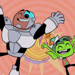 Cyborg and Beast Boy dancing in the song.