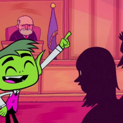 Beast Boy serving as a lawyer.