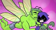 Raven and moth Beast Boy hugging