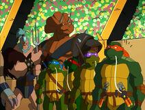 Teenage-mutant-ninja-turtles-season-2-4-turtles-in-space-the-arena-donatello-leonardo-raphael-michelangelo-triceraton-tmnt-2003
