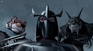 Shredder Tiger Claw And Rahzar Watching Leonardo's Fight