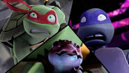 Shocked Raphael Scared Donatello And Happy Chompy
