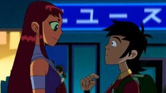 Teen Titans - trouble in Tokyo love moments Robin and Starfire
