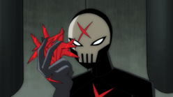 Red X holding a handful of X-Shurikens