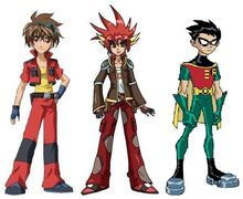 "01 - Crossover- Dan Kuso and Human Drago from ""Bakugan"" + Robin from ""Teen Titans"""
