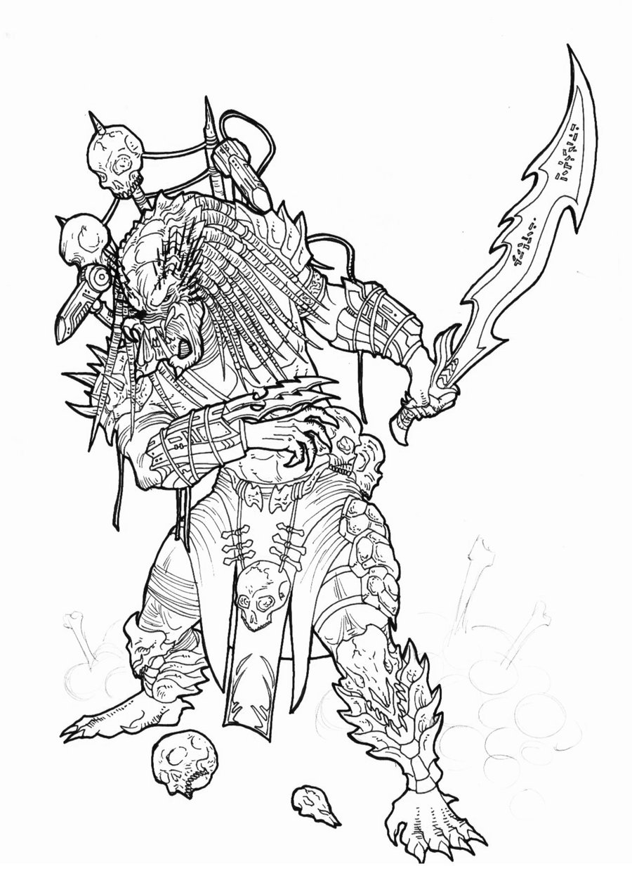fancy alien predator coloring pages image collection professional