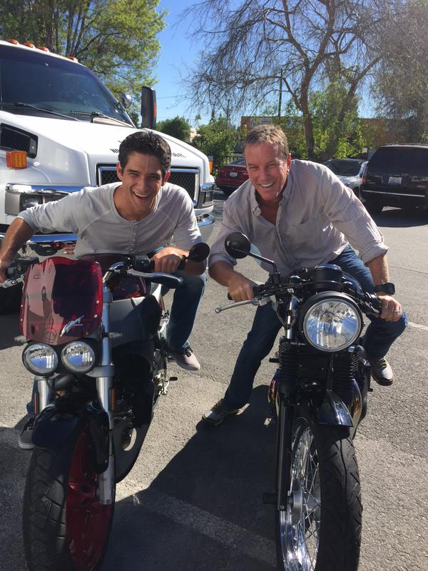 Teen Wolf Season 5 Behind the Scenes Tyler Posey Linden Ashby motorcycles 021015