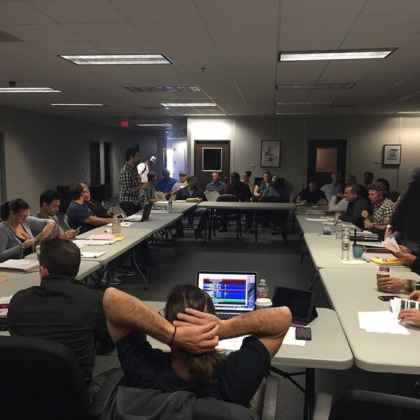 Teen Wolf Season 5 Producers Meeting TWHQ wide shot 020515