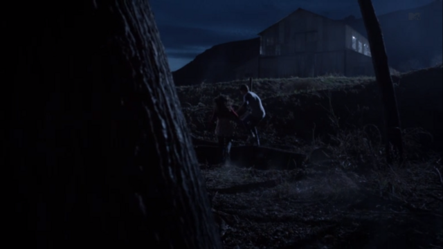 File:Teen Wolf Season 3 Episode 8 Visionary Young Derek and Paige run off to the distillery.png
