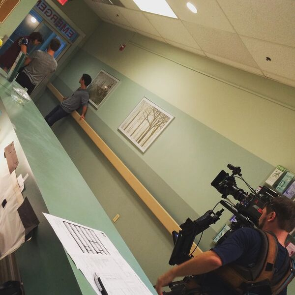 Teen Wolf Season 5 Behind the Scenes Shelley Hennig Tyler Posey hospital scene undated