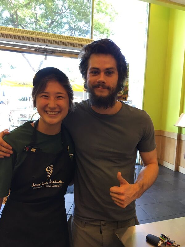 Dylan O'Brien at Sherman Oaks Jamba Juice with employee Teen Wolf News