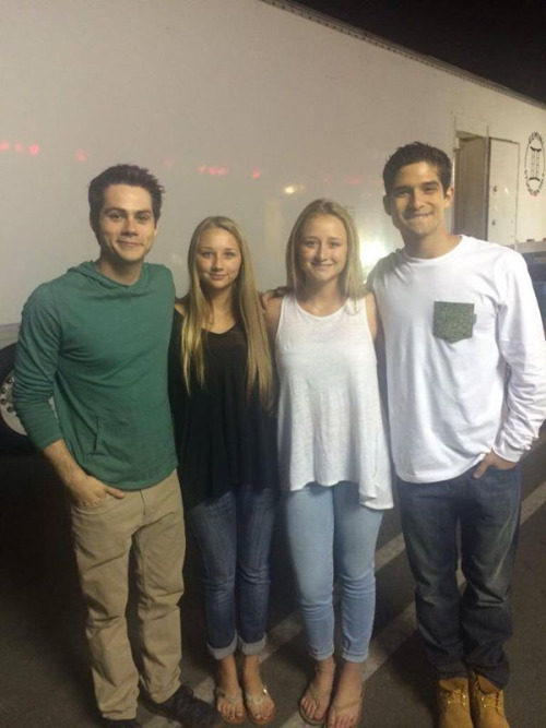 Teen Wolf Season 5 Behind the Scenes Dylan O'Brien Tyler Posey with fans Teen Wolf HQ undated