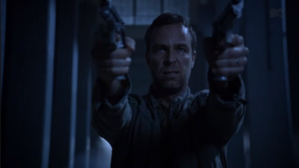 Teen Wolf Season 3 Episode 9 The Girl Who Knew Too Much JR Bourne Chris Argent tries to shoot The Darach