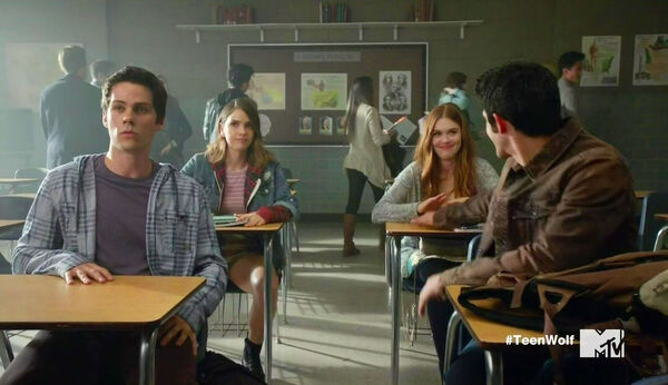 Dylan-O'Brien-Shelley-Hennig-Holland-Roden-Tyler-Posey-Classroom-Teen-Wolf-Season-6-Episode-Riders-on-the-Storm-Wikia