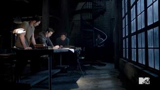 Derek, Peter, Scott and Stiles at loft
