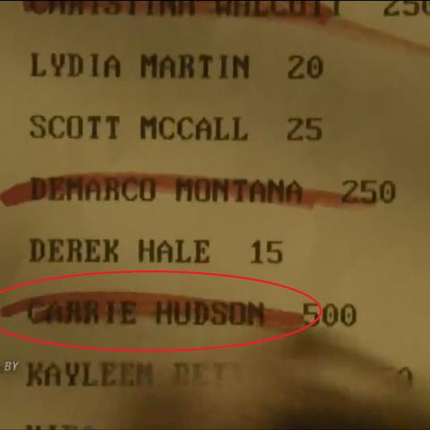 Le Nom de Carrie barré sur la liste.