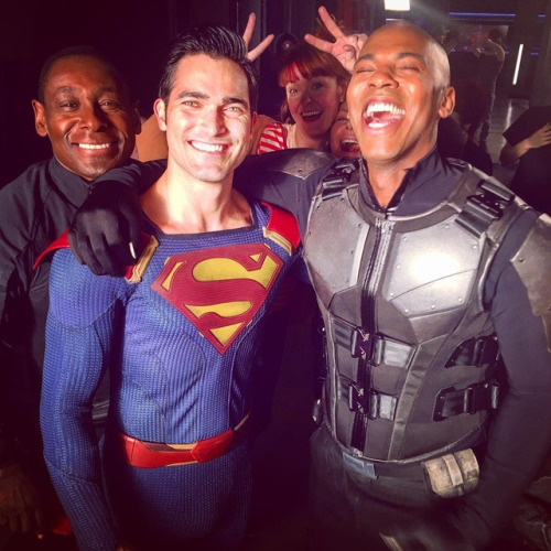 Mehcad Brooks Tyler Hoechiln David Harewood Supergirl Finale filming 2017