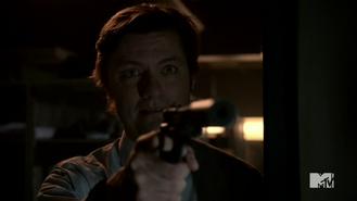 Teen Wolf Season 4 Episode 7 Weaponized The Chemist with gun