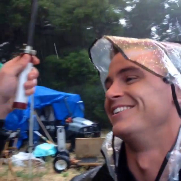 Teen Wolf Season 5 Behind the Scenes Ryan Kelley rain hat