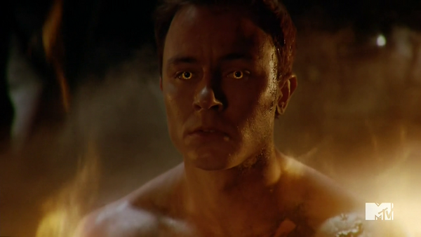 Teen Wolf Season 5 Episode 4 Condition Terminal Parrish on fire glowing eyes
