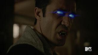 Teen Wolf Season 5 Episode 20 Apotheosis Sebastien's eyes and fangs
