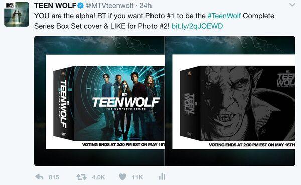 Teen Wolf MTV social DVD box set artwork contest tweet