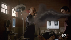 Teen Wolf Season 5 Episode 3 Dreamcatcher Deaton throws mountain ash