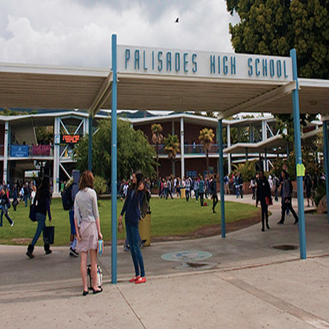 Teen Wolf Behind the Scenes Palisades Charter High School sign before