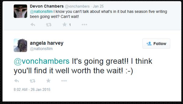 Teen Wolf News Angela Harvey scripts tweet 012715