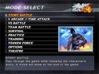 Tekken 4 Game Mode Select